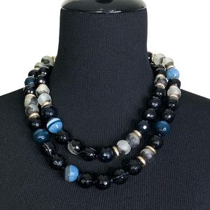 Akola Glass Bead Layered Choker Necklace
